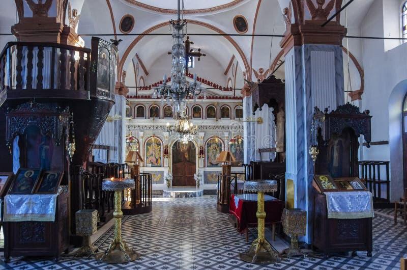 Εσωτερικό της παλαιάς εκκλησίας του ST Panteleimon λιθοδόμων Εσώρουχο Palaios στοκ εικόνες με δικαίωμα ελεύθερης χρήσης