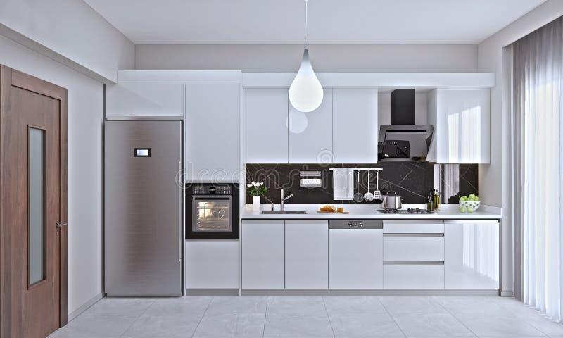 Εσωτερικό της σύγχρονης κουζίνας διανυσματική απεικόνιση
