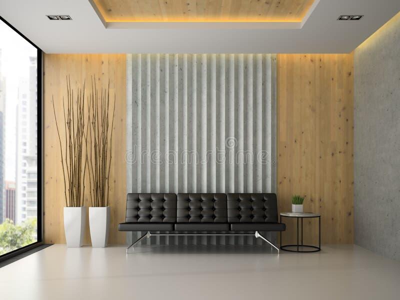 Εσωτερικό της σύγχρονης τρισδιάστατης απόδοσης αίθουσας αναμονής ελεύθερη απεικόνιση δικαιώματος