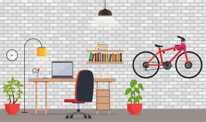 Εσωτερικό του γραφείου ή του δωματίου με τον άσπρο τουβλότοιχο διανυσματική απεικόνιση