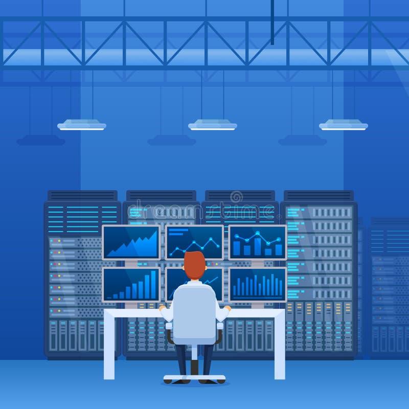Εσωτερικό του δωματίου κεντρικών υπολογιστών, υπάλληλος που λειτουργεί για τους υπολογιστές και τα όργανα ελέγχου διανυσματική απεικόνιση