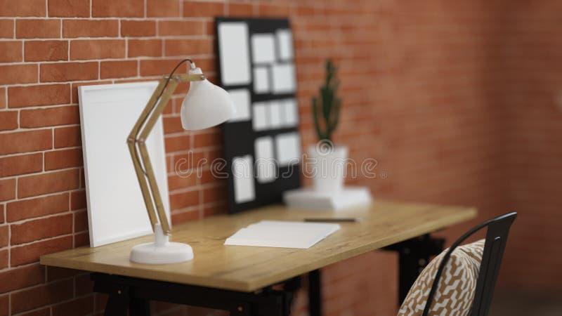 Εσωτερικό του εγχώριου εργασιακού χώρου διανυσματική απεικόνιση