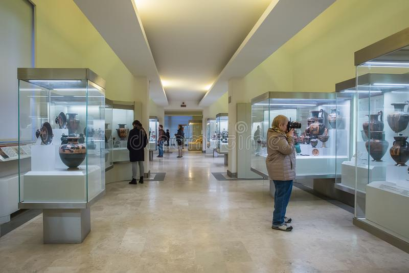 Εσωτερικό του εθνικού μουσείου Etruscan που στεγάζεται στη βίλα Giu στοκ εικόνα
