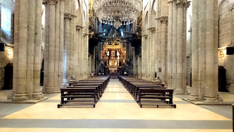 Εσωτερικό του καθεδρικού ναού του Σαντιάγο de Compostela στοκ φωτογραφίες