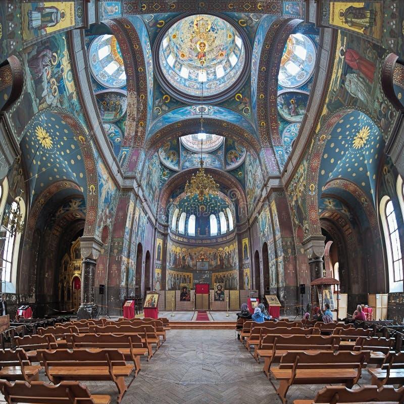 Εσωτερικό του καθεδρικού ναού του ST Panteleimon στο νέο μοναστήρι Athos, αβ στοκ εικόνα