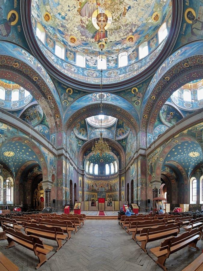 Εσωτερικό του καθεδρικού ναού του ST Panteleimon στο νέο μοναστήρι Athos στοκ εικόνες
