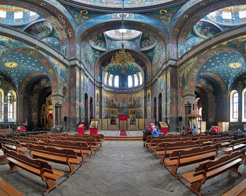 Εσωτερικό του καθεδρικού ναού του ST Panteleimon στο νέο μοναστήρι Athos στοκ φωτογραφίες