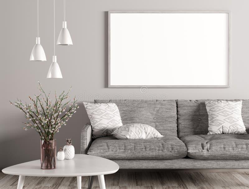 Εσωτερικό του καθιστικού με τον καναπέ και της χλεύης επάνω στο τρισδιάστατο renderin αφισών ελεύθερη απεικόνιση δικαιώματος