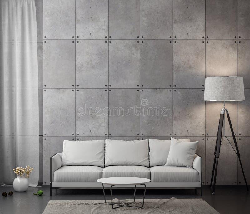 Εσωτερικό του καθιστικού με το συμπαγή τοίχο, τρισδιάστατη απόδοση στοκ εικόνα με δικαίωμα ελεύθερης χρήσης