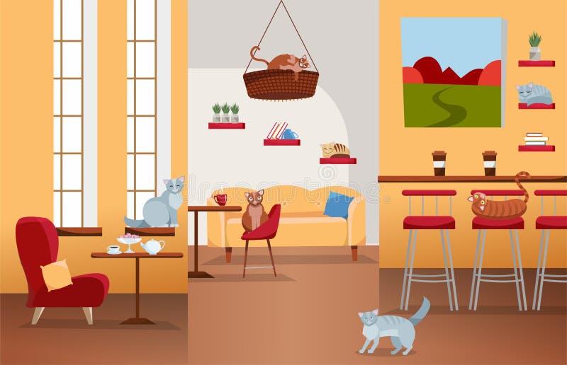 Εσωτερικό του καφέ γατών με τα μεγάλα παράθυρα, άνετη κόκκινη καρέκλα, πίνακες με το τσάι και τον καφέ Πολλές γάτες στο σπίτι επί ελεύθερη απεικόνιση δικαιώματος