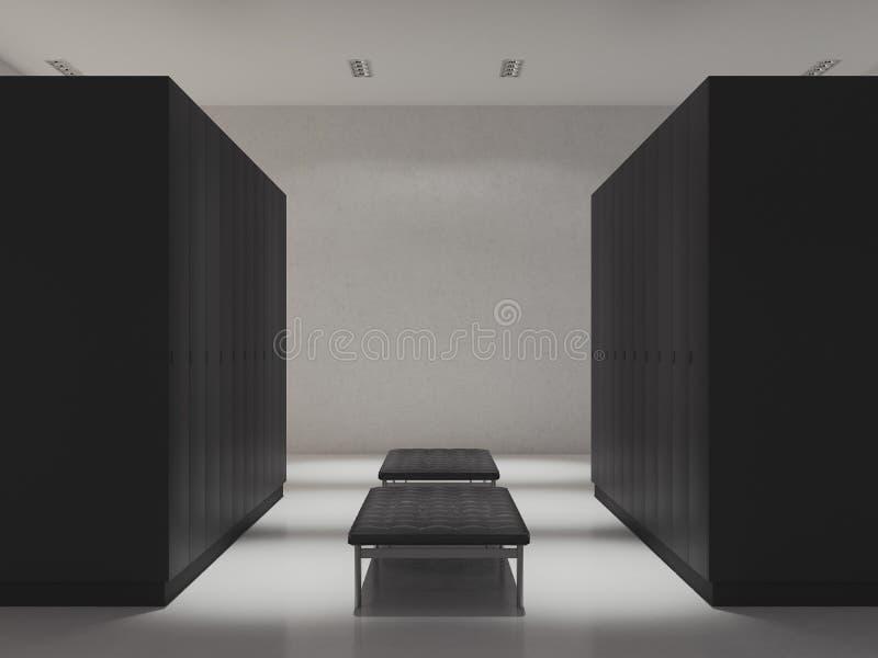 Εσωτερικό του μεταβαλλόμενου δωματίου με τα ντουλάπια στη γυμναστική, τρισδιάστατη απόδοση ελεύθερη απεικόνιση δικαιώματος