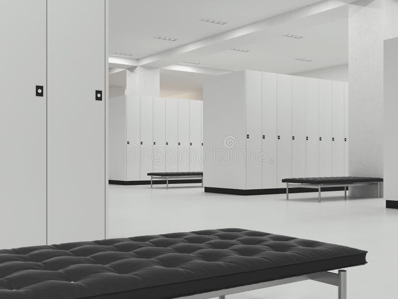 Εσωτερικό του μεταβαλλόμενου δωματίου στη γυμναστική, τρισδιάστατη απόδοση απεικόνιση αποθεμάτων