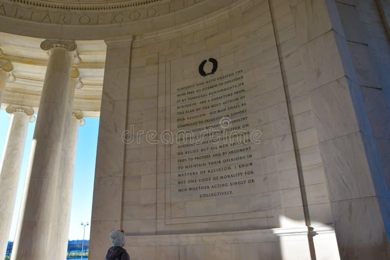 Εσωτερικό του μνημείου του Thomas Jefferson Washington DC, ΗΠΑ στοκ φωτογραφίες με δικαίωμα ελεύθερης χρήσης