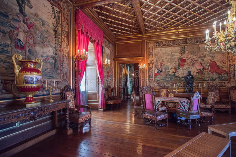 Εσωτερικό του Πάου Castle (πύργος de Πάου), Γαλλία στοκ εικόνες με δικαίωμα ελεύθερης χρήσης