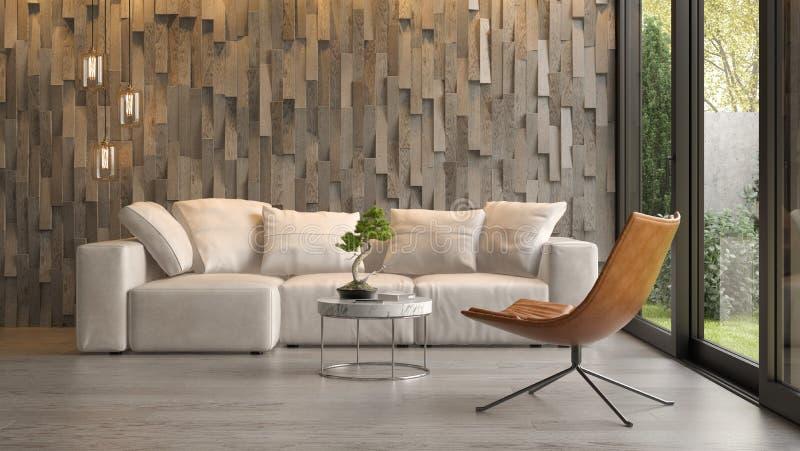 Εσωτερικό του σύγχρονου καθιστικού με την τρισδιάστατη απόδοση καναπέδων στοκ φωτογραφία