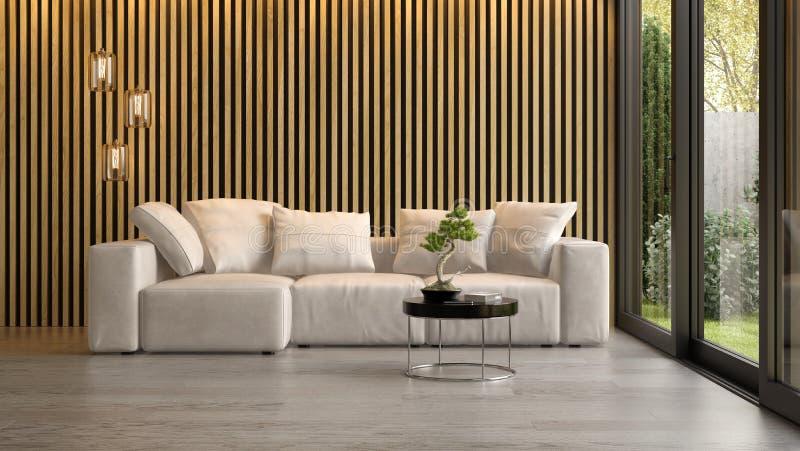 Εσωτερικό του σύγχρονου καθιστικού με την τρισδιάστατη απόδοση καναπέδων στοκ φωτογραφίες με δικαίωμα ελεύθερης χρήσης