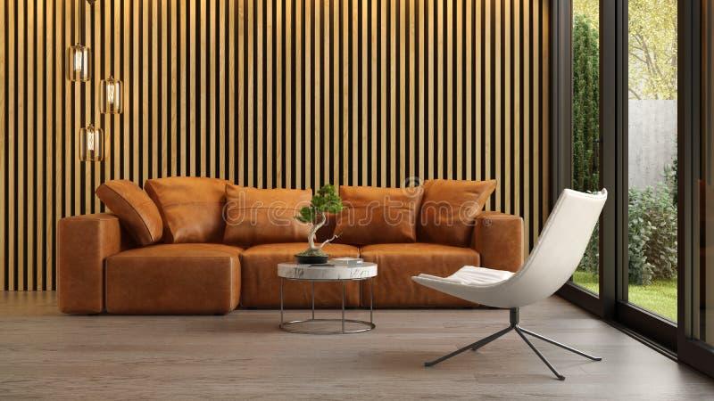 Εσωτερικό του σύγχρονου καθιστικού με την τρισδιάστατη απόδοση καναπέδων στοκ εικόνες