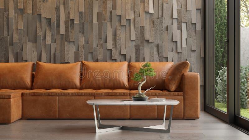 Εσωτερικό του σύγχρονου καθιστικού με την τρισδιάστατη απόδοση καναπέδων στοκ εικόνα