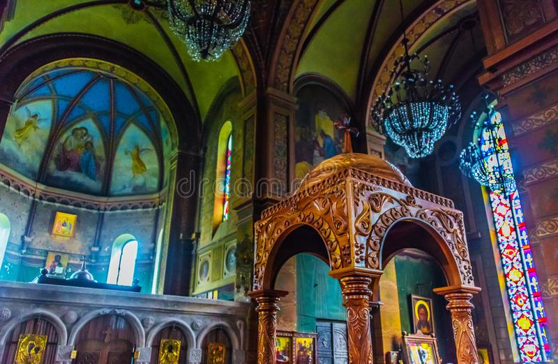 Εσωτερικό του της Γεωργίας ορθόδοξου καθεδρικού ναού της μητέρας του Θεού σε Batumi στην αυτόνομη Δημοκρατία Adjara, Γεωργία στοκ εικόνες