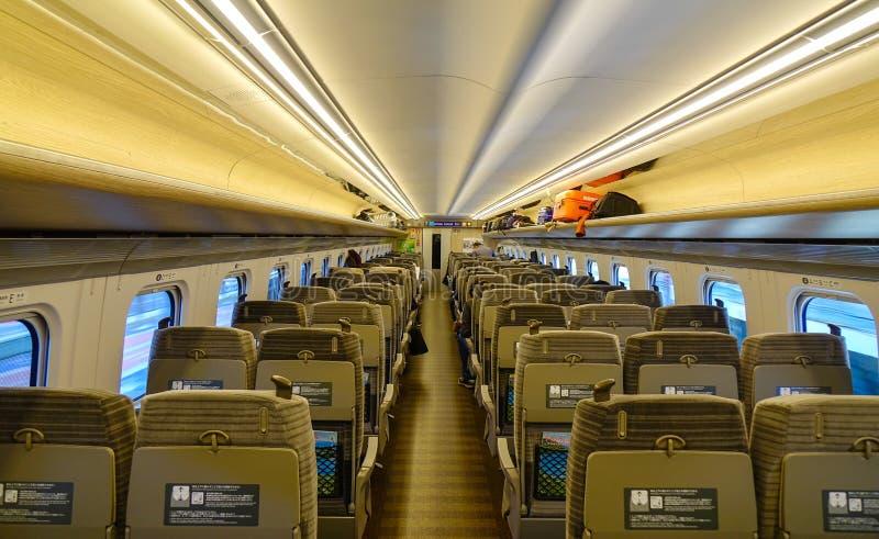 Εσωτερικό του τραίνου υψηλής ταχύτητας Shinkansen στοκ εικόνα με δικαίωμα ελεύθερης χρήσης