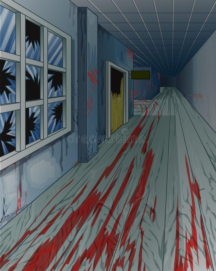 Εσωτερικό του τρομακτικού εγκαταλειμμένου παλιού σχολείου διανυσματική απεικόνιση
