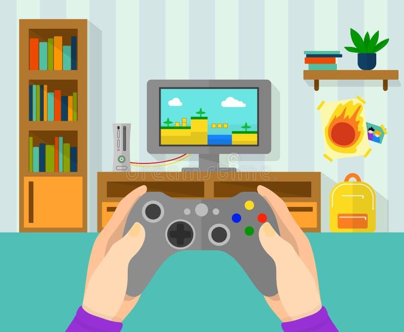 Εσωτερικό του δωματίου gamer Απεικόνιση του ελεγκτή παιχνιδιών στα χέρια Παιχνίδι αγοριών στο τηλεοπτικό παιχνίδι στην κονσόλα το ελεύθερη απεικόνιση δικαιώματος