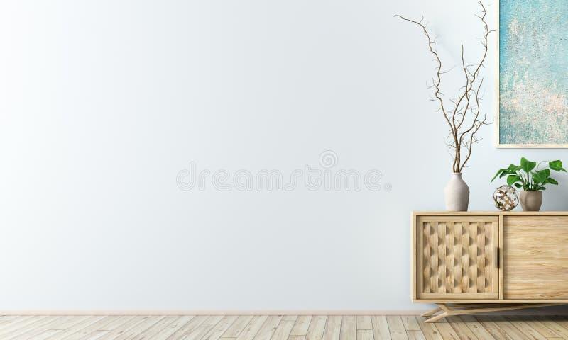 Εσωτερικό υπόβαθρο με την ξύλινη τρισδιάστατη απόδοση γραφείων ελεύθερη απεικόνιση δικαιώματος
