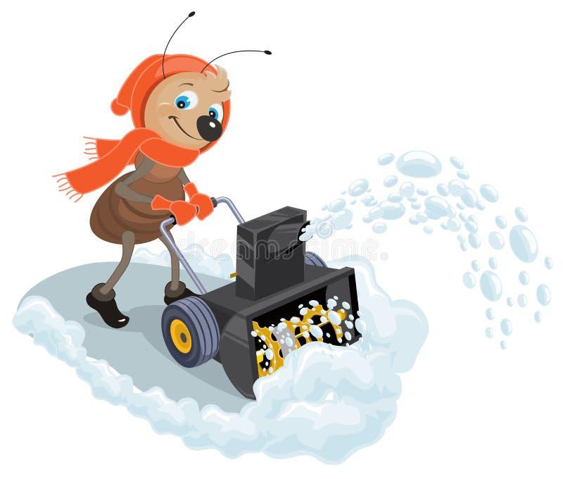 Εσωτερικό χιόνι-άροτρο μυρμηγκιών Thrower χιονιού διανυσματική απεικόνιση