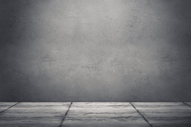 Εσωτερικό δωμάτιο με το βρώμικους συμπαγή τοίχο και το πάτωμα τρισδιάστατο δίνοντας ι στοκ φωτογραφία