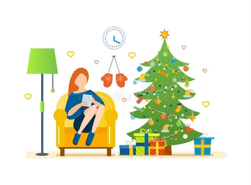 Εσωτερικό δωματίων Χριστουγέννων Γιόγκα Υγιής τρόπος ζωής απεικόνιση αποθεμάτων