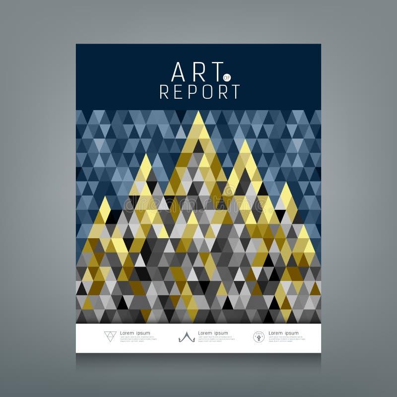 Ετήσια έκθεση κάλυψης, ζωηρόχρωμα τρίγωνα έννοιας αρχιτεκτονικής γεωμετρικά ελεύθερη απεικόνιση δικαιώματος