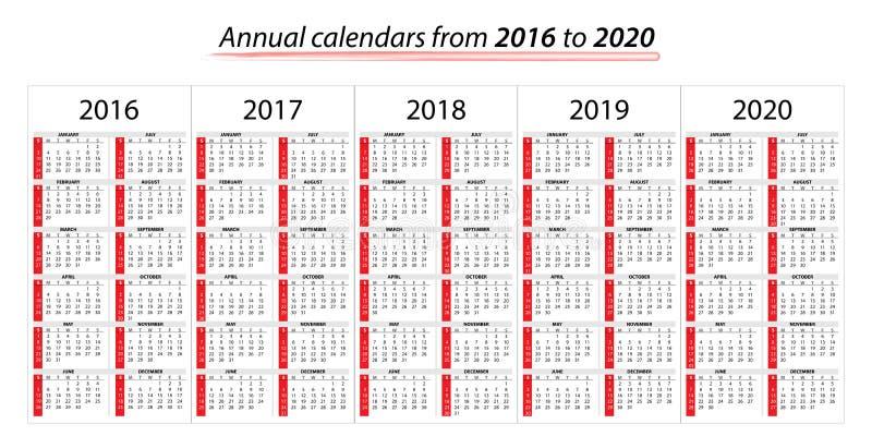 Ετήσιο ημερολόγιο αρμόδιων για το σχεδιασμό από το 2016 ως το 2020 διανυσματική απεικόνιση