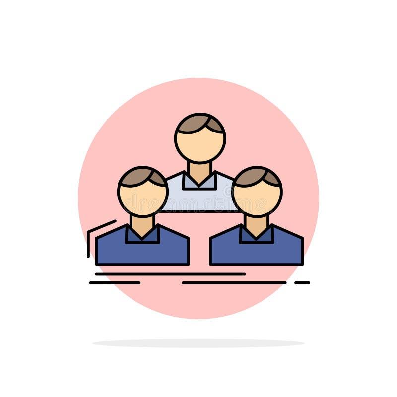 Εταιρεία, υπάλληλος, ομάδα, άτομα, διάνυσμα εικονιδίου επίπεδου χρώματος ομάδας διανυσματική απεικόνιση