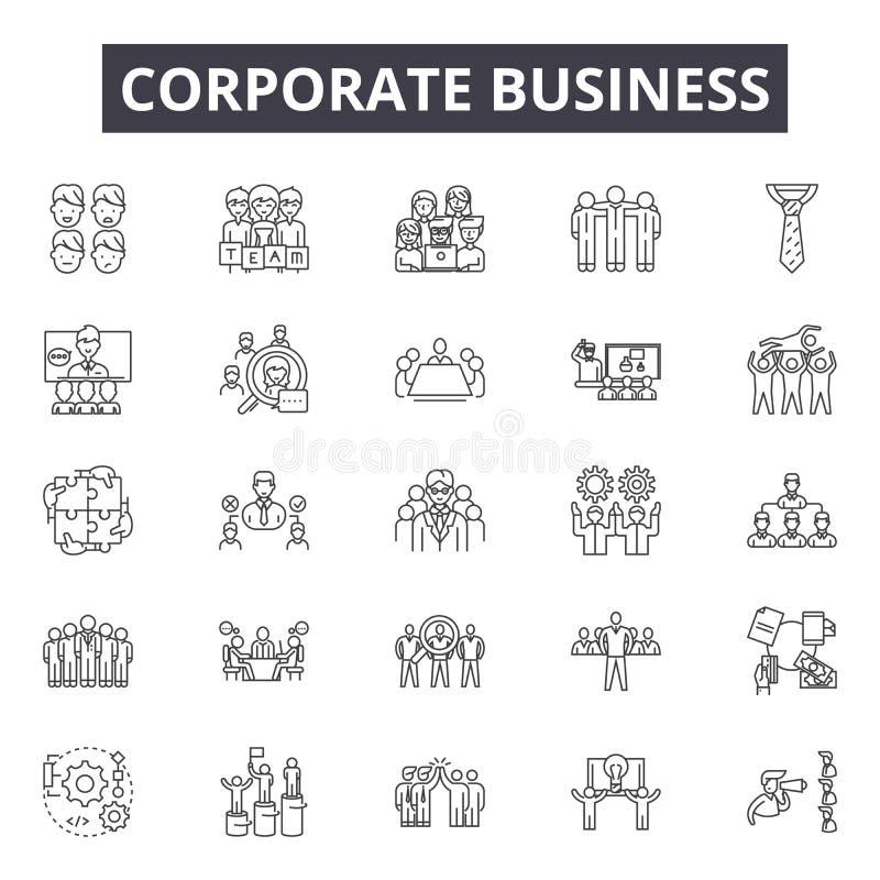 Εταιρικά εικονίδια επιχειρησιακών γραμμών, σημάδια, διανυσματικό σύν διανυσματική απεικόνιση