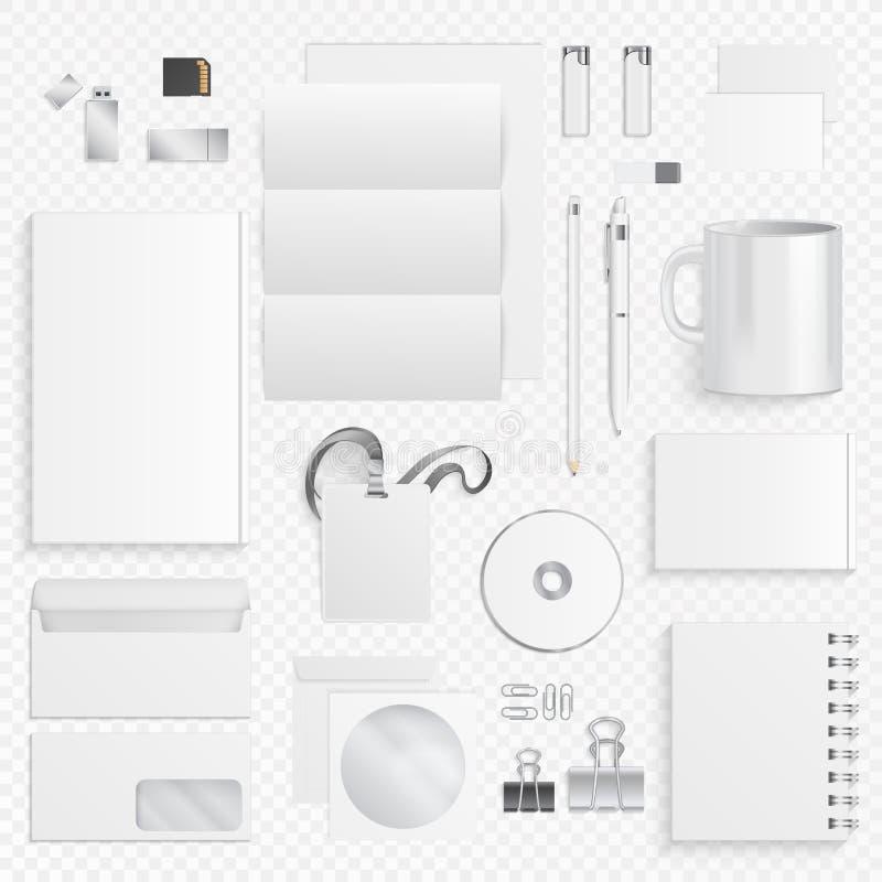 Εταιρικά επιχειρησιακά στοιχεία ταυτότητας Διανυσματικά εικονίδια των προμηθειών και των χαρτικών γραφείων, μάνδρα, κάρτα επιχειρ ελεύθερη απεικόνιση δικαιώματος