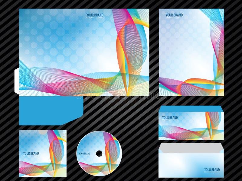 Εταιρικά ταυτότητας προτύπων επιχειρησιακά καθορισμένα χαρτικά χρώματος σχεδίου μπλε διανυσματική απεικόνιση