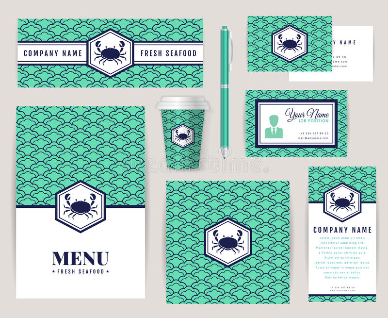 Εταιρική ταυτότητα για ένα εστιατόριο θαλασσινών ελεύθερη απεικόνιση δικαιώματος