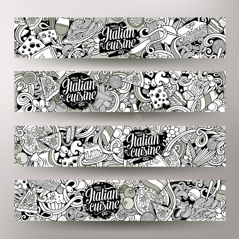 Εταιρική ταυτότητα τροφίμων κινούμενων σχεδίων χαριτωμένη περιγραμματική διανυσματική συρμένη χέρι doodles ιταλική απεικόνιση αποθεμάτων