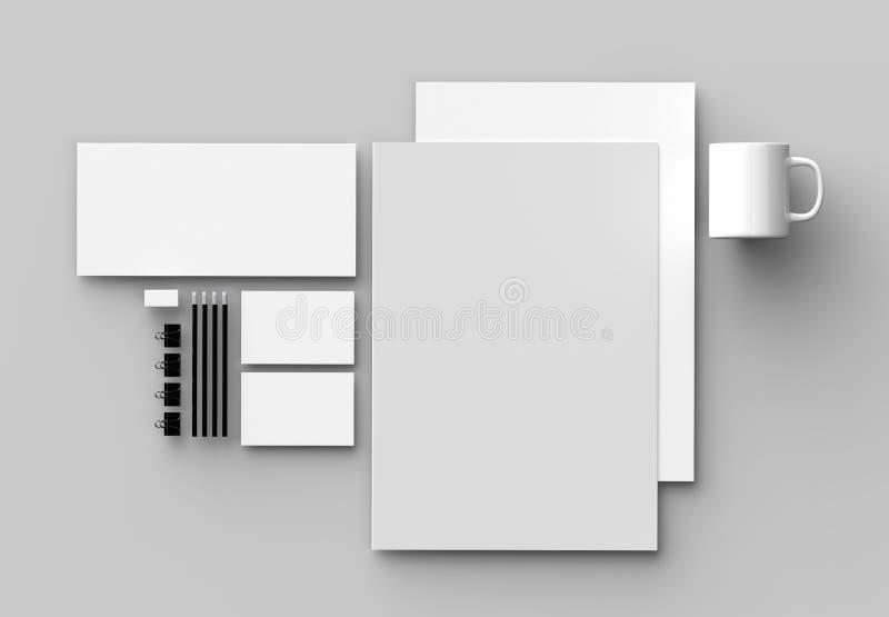 Εταιρική χλεύη χαρτικών ταυτότητας που απομονώνεται επάνω στο γκρίζο backgroun απεικόνιση αποθεμάτων