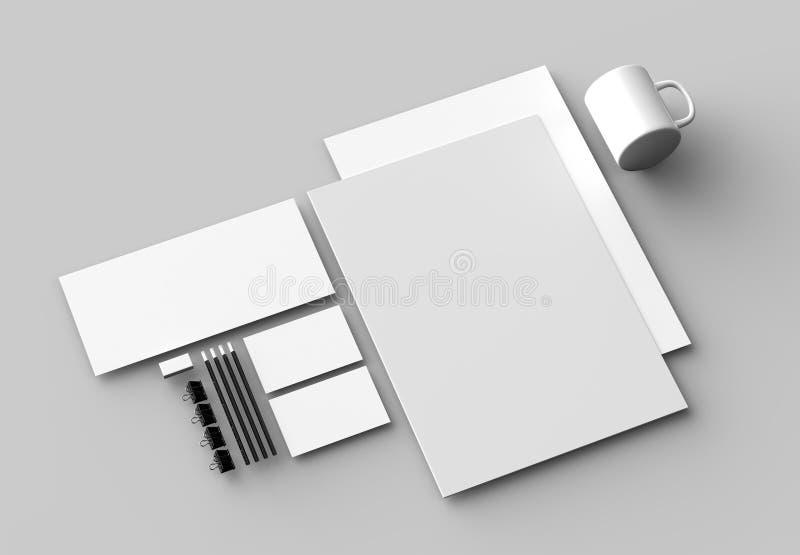 Εταιρική χλεύη χαρτικών ταυτότητας που απομονώνεται επάνω στο γκρίζο backgroun διανυσματική απεικόνιση