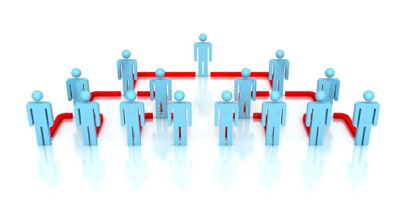 Εταιρικοί τρισδιάστατοι άνθρωποι επιχειρησιακών δικτύων ιεραρχίας ελεύθερη απεικόνιση δικαιώματος