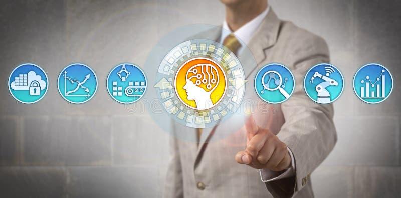 Εταιρικός διευθυντής που ορίζει τους στόχους διοικητικών μεριμνών στο AI στοκ εικόνες