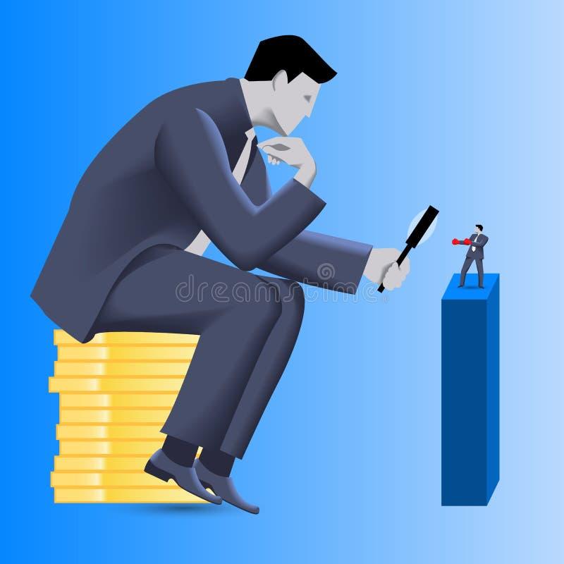 Εταιρικός εναντίον της έννοιας ανταγωνισμού μικρών επιχειρήσεων απεικόνιση αποθεμάτων