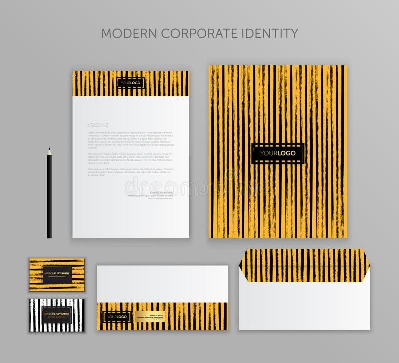 Εταιρικό επιχειρησιακό σύνολο ταυτότητας Σύγχρονο σχέδιο προτύπων χαρτικών Τεκμηρίωση για την επιχείρηση απεικόνιση αποθεμάτων