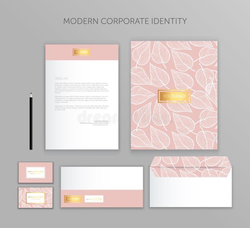 Εταιρικό επιχειρησιακό σύνολο ταυτότητας Σύγχρονο σχέδιο προτύπων χαρτικών Τεκμηρίωση για την επιχείρηση ελεύθερη απεικόνιση δικαιώματος