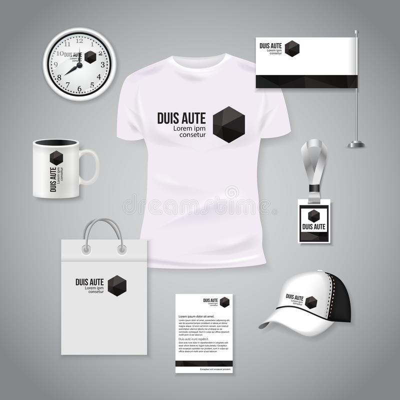Εταιρικό πρότυπο επιχειρησιακού photorealistic σχεδίου ταυτότητας Κλασικό άσπρο σχέδιο προτύπων χαρτικών Ρολόι, μπλούζα ελεύθερη απεικόνιση δικαιώματος