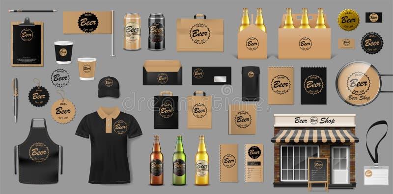 Εταιρικό σχέδιο προτύπων ταυτότητας μαρκαρίσματος για το κατάστημα μπύρας Στοιχεία ζυθοποιείων για το μπαρ ή το φραγμό μπύρας σας διανυσματική απεικόνιση