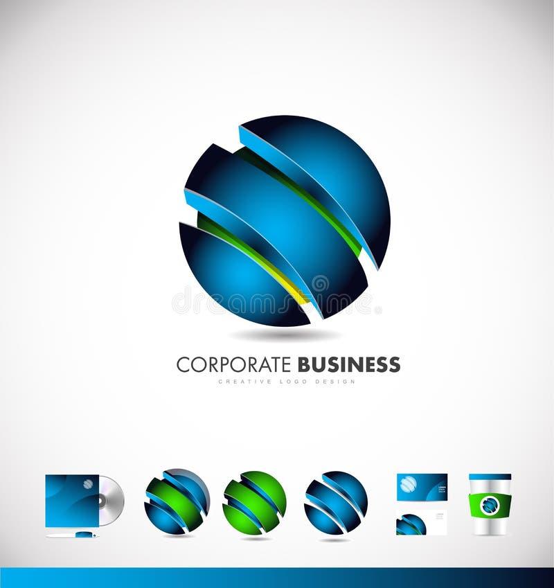 Εταιρικό σχέδιο εικονιδίων λογότυπων επιχειρησιακών μπλε τρισδιάστατο σφαιρών διανυσματική απεικόνιση