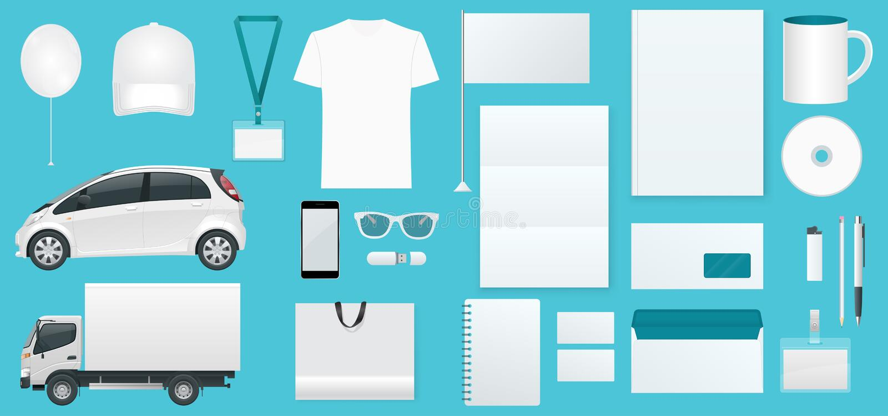 Εταιρικό σύνολο προτύπων ταυτότητας Σχέδιο μαρκαρίσματος Κενό άσπρο πρότυπο Πρότυπο επιχειρησιακών χαρτικών Για γραφικό διανυσματική απεικόνιση