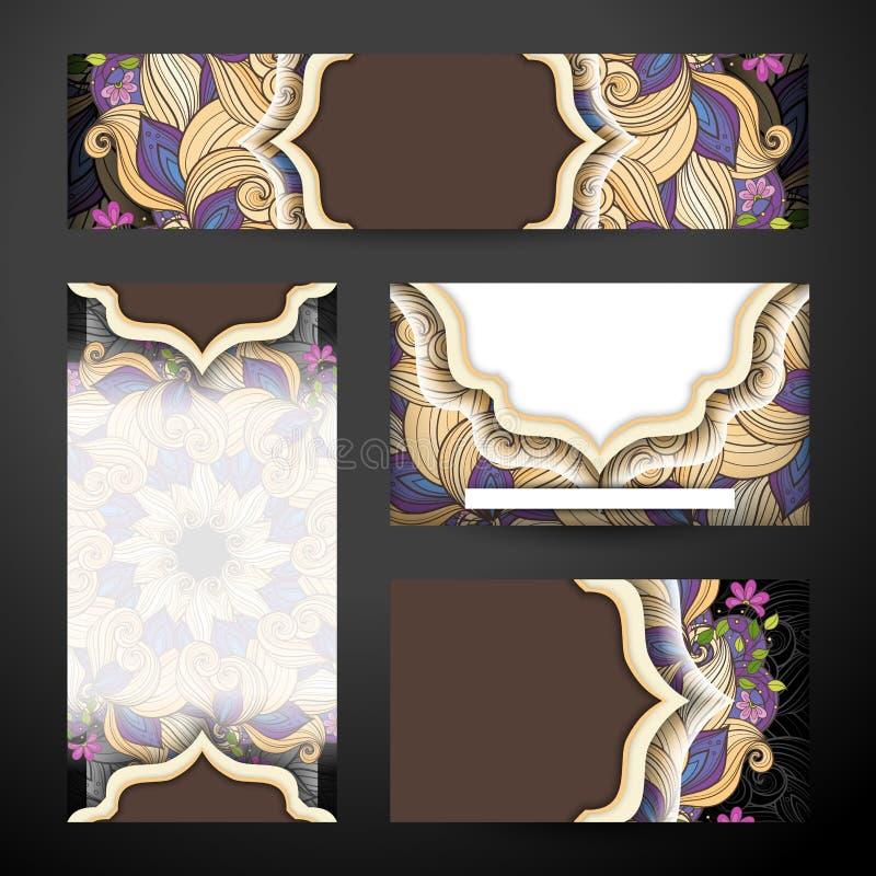Εταιρικό σύνολο ταυτότητας Floral προτύπων ελεύθερη απεικόνιση δικαιώματος